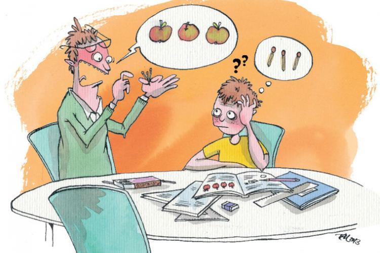 Far og søn kæmper med lektierne