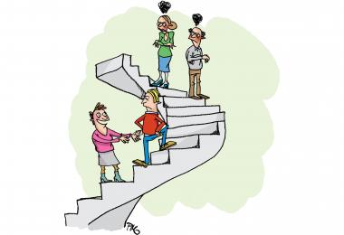 Konflikttrappen. Illustration af Pernille Mühlbach